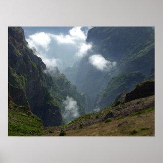 Nubes y poster de las montañas