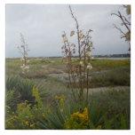 Nubes y Wildflowers - isla del roble, NC de la pla Azulejo Ceramica