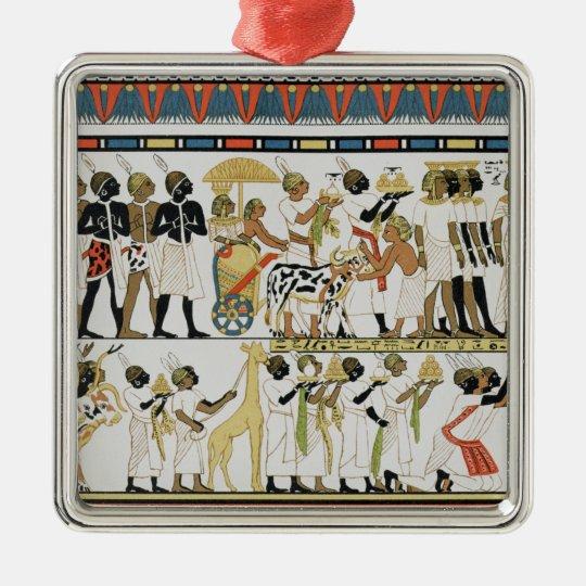 Nubian chiefs bringing presents metal ornament