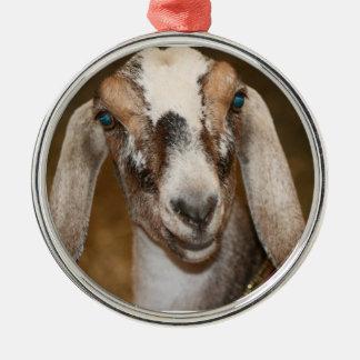Nubian Dairy Goat Doe White Stripe Caprine Metal Ornament