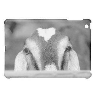 Nubian doe bw peeking over wooden rail.jpg case for the iPad mini