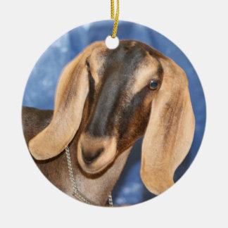 Nubian doe head against blue ornaments