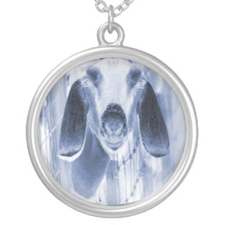 Nubian doe head on invert silver plated necklace