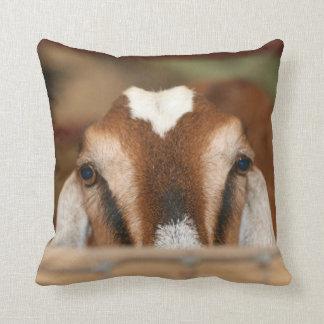 Nubian doe peeking over wooden rail throw pillow