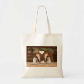 Nubian doe peeking over wooden rail tote bag