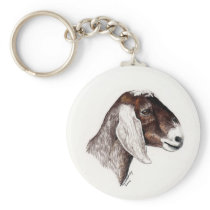"""Nubian Goat"" Animal Art Keychain"