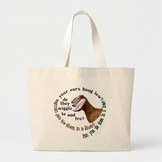 NUBIAN GOAT - DO YOUR EARS HANG LOW? LARGE TOTE BAG