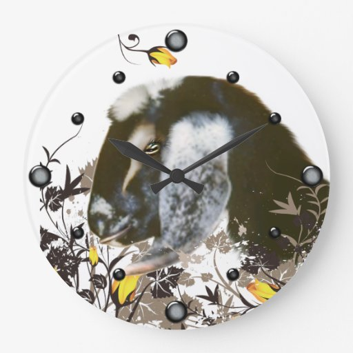 Nubian Goat Painting Floral  Wall Clock
