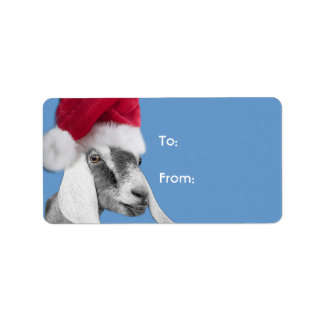 Nubian Goat  Santa Goat Christmas Gift Tag Address Label