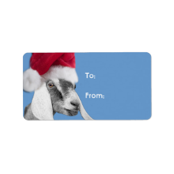 Nubian Goat Santa Goat Christmas Gift Tag Labels