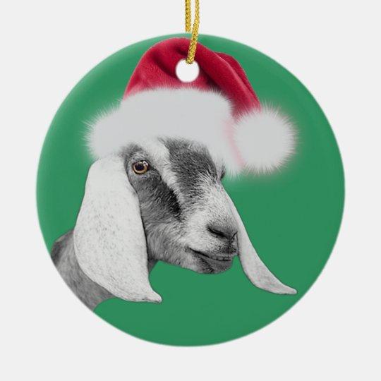 Goat Christmas Ornament.Nubian Goat Santa Hat Christmas Ornament