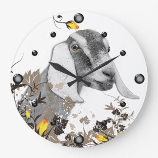 Nubian Goat Sketch Floral  Wall Clock