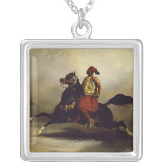Nubian Horseman at the Gallop Silver Plated Necklace