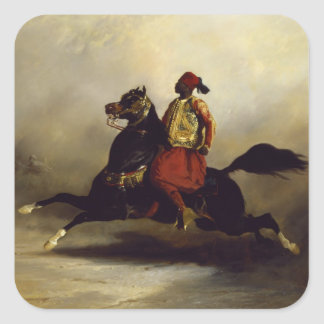 Nubian Horseman at the Gallop Square Sticker