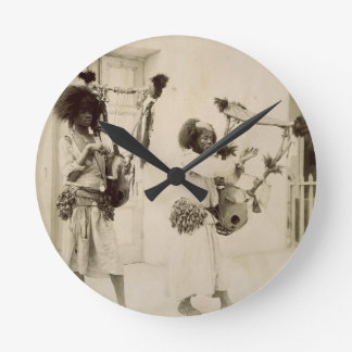 Nubian Musicians (sepia photo) Round Wallclocks