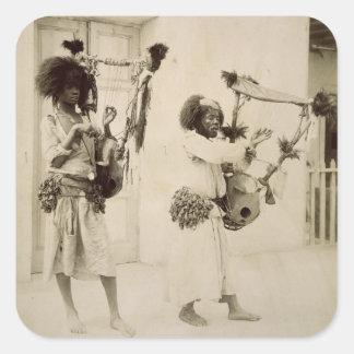 Nubian Musicians (sepia photo) Square Sticker