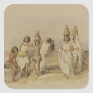 """Nubian Women at Kortie on the Nile, from """"Egypt an Square Sticker"""