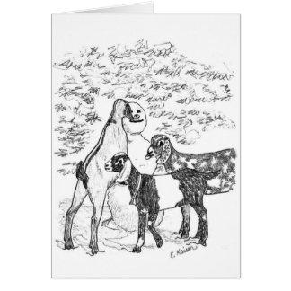 Nubians & Snowman Card
