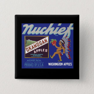 Nuchief Apples - Vintage Fruit Crate Label Pinback Button