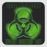 Nuclear Biohazard Caution Sign Square Sticker
