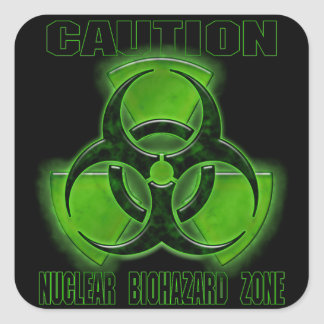 Nuclear Biohazard Caution Sign Square Stickers