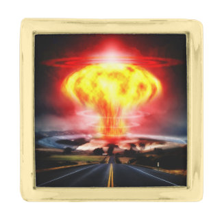 Nuclear Explosion Gold Finish Lapel Pin