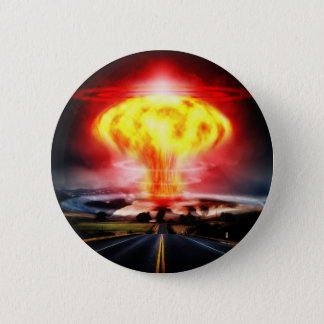 Nuclear explosion mushroom cloud illustration button