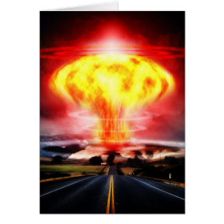 Nuclear explosion mushroom cloud illustration card