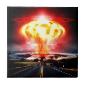 Nuclear explosion mushroom cloud illustration ceramic tile