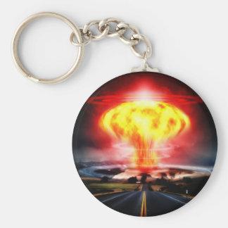 Nuclear explosion mushroom cloud illustration key chain