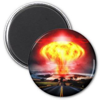 Nuclear explosion mushroom cloud illustration magnet
