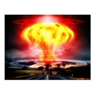 Nuclear explosion mushroom cloud illustration postcard