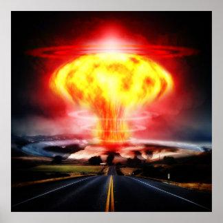 Nuclear explosion mushroom cloud illustration print
