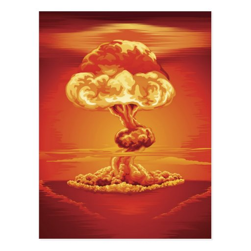 Nuclear explosion mushroom cloud post card