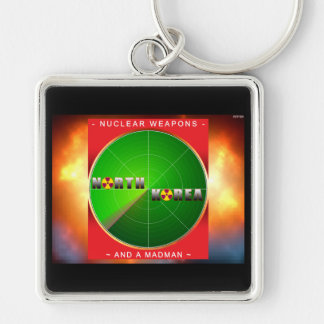 Nuclear North Korea Silver-Colored Square Keychain