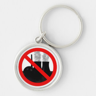Nuclear power NO THANKS Silver-Colored Round Keychain