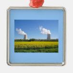 Nuclear power planta - Central nuclear Adorno Cuadrado Plateado