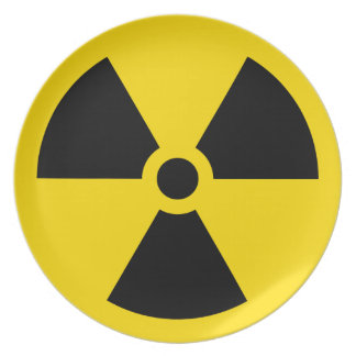 Nuclear radiation symbol black and yellow plate