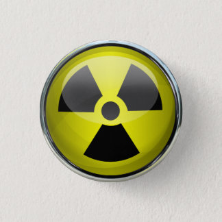 Nuclear Radiation Symbol Radioactive Warning Sign Button