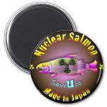 Nuclear Salmon 2 Inch Round Magnet