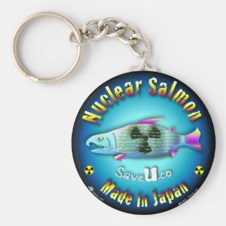 Nuclear Salmon blue Basic Round Button Keychain