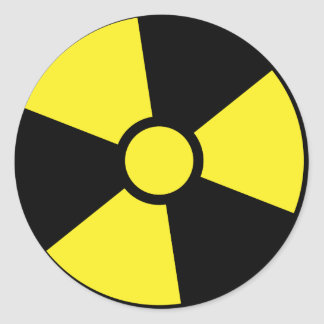 Nuclear warning sign classic round sticker
