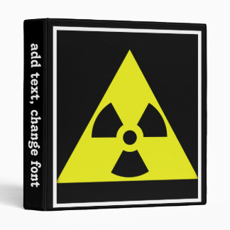Nuclear Warning Triangle 3 Ring Binders