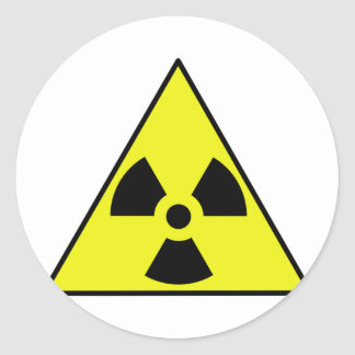Nuclear Warning Triangle Classic Round Sticker