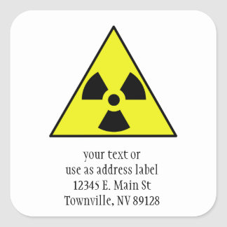 Nuclear Warning Triangle Square Sticker