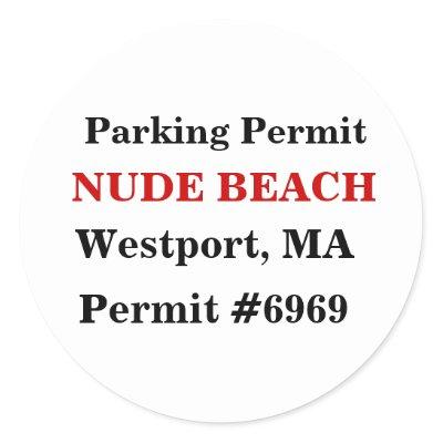 NUDE BEACH, Westport, MA Round Sticker by Fiedler_Mundt