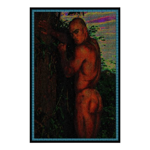 Nude male standing by tree Bj 38 bright edit Poster