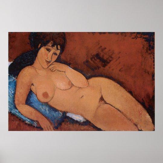 Nude on a blue Cushion, Amedeo Modigliani Poster