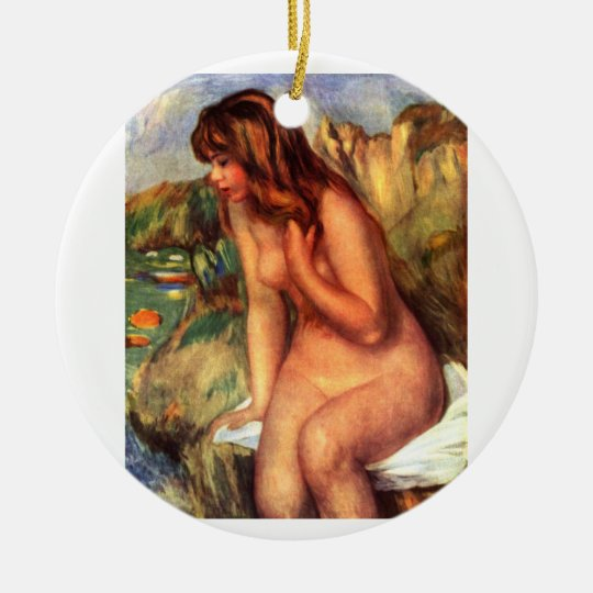 Nude Sitting on a Rock Ceramic Ornament