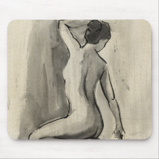 Nude Sketch of Female Body by Ethan Harper Mouse Pad
